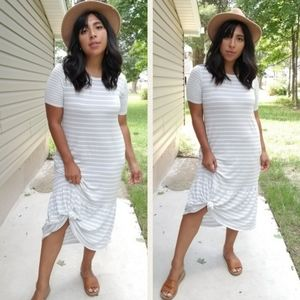 Dresses & Skirts - MODERN TIMES GRAY WHITE STRIPED MAXI DRESS